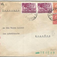 Sellos: BULGARIA SOFIA CC A ALEMANIA CON CENSURA MILITAR SELLO RECOLECCION FRUTA FRUIT. Lote 109028019