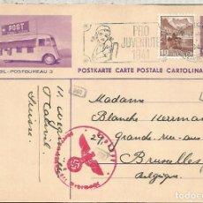 Sellos: SUIZA ENTERO POSTAL 1941 AUTOBUS POSTAL CON TELEFONOS TELEPHONE CENSURA MILITAR ALEMANA. Lote 110660751