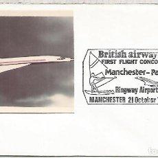 Sellos: REINO UNIDO BRITISH AIRWAYS PRIMER VUELO CONCORDE MANCHESTER PALMA MALLORCA. Lote 111800699