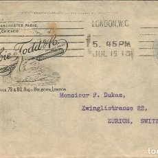 Sellos: REINO UNIDO ENTERO POSTAL 1913 A ZURICH CISNE SWAN AVE PAJARO. Lote 121642195