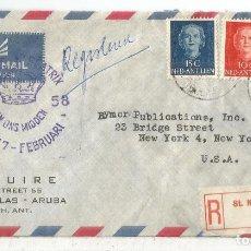 Sellos: ANTILLAS HOLANDESAS ARUBA CC CERTIFICADA 1958 PRINCES BEATRIX AL DORSO LLEGADA. Lote 121642499