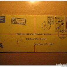 Sellos: UGANDA 1969 KAMPALA TO NY USA EAA AIR MAIL REGISTERED BRITISH AREA FLORA CERTIFI. Lote 123641046