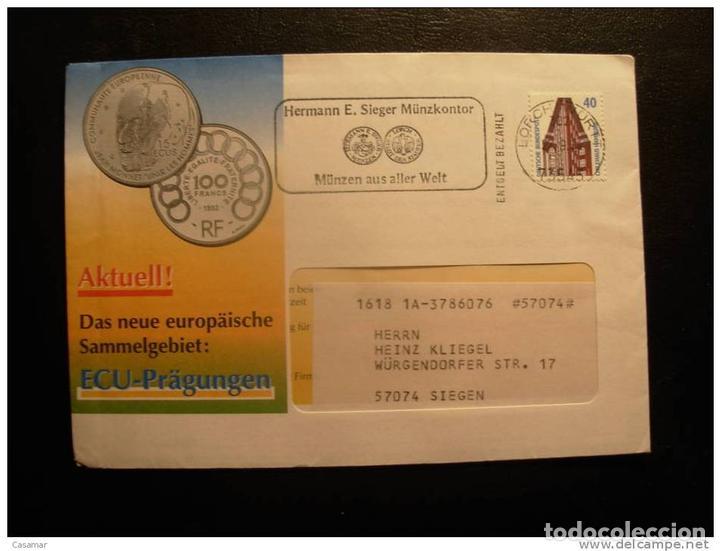 Germany Ecu Coin Worls Coin Cancel Cover Sobre Comprar Historia