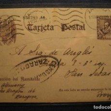 Sellos: Nº83 ZARAGOZA 1939 A SAN SEBASTIAN CERVANTES CENSURA MILITAR 20C TARJETA ENTERO. Lote 123647559