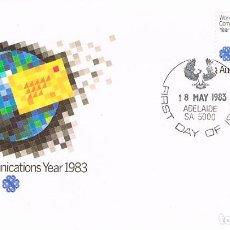 Sellos: AUSTRALIA, AÑO MUNDIAL DE LAS TELECOMUNICACIONES., PRIMER DIA 18-5-1983. Lote 123697587