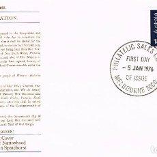 Sellos: AUSTRALIA, 75 ANIVERSARIO DE AUSTRALIA. PRIMER DIA 5-1-1976. Lote 123701715