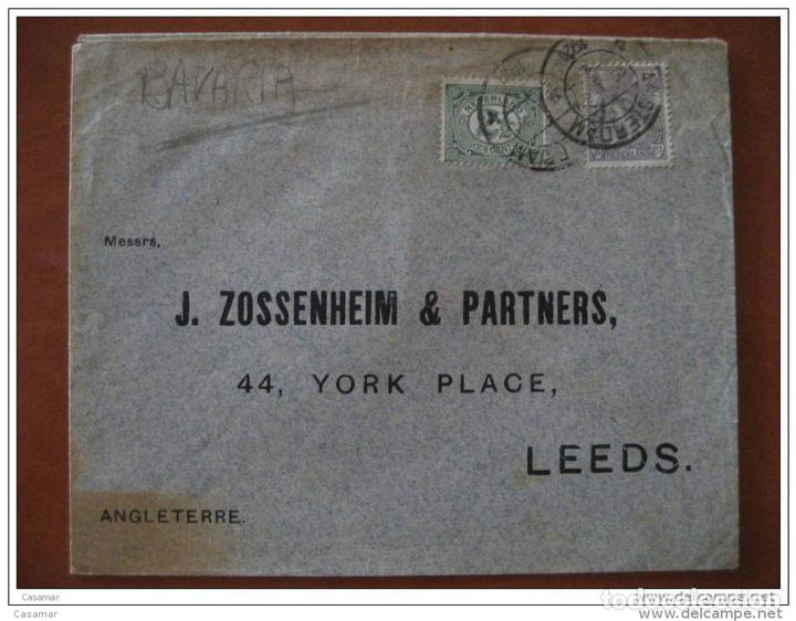 1921 Amsterdam To Leeds Gb Uk 2 Stamps Sellos Sobre Cover Holland Netherlands