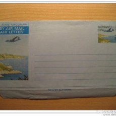 Sellos: GUERNSEY 141/2P PLANE AVION BY AIR MAIL AIR LETTER AEROGRAMME BRITISH AREA CHANN. Lote 123796943