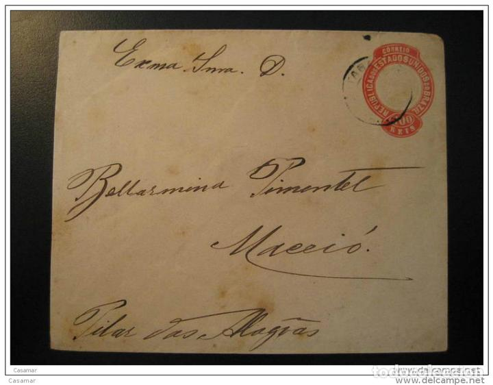 Pernambuco 1897 To Maceio Pilar Alagoas Stationery Cover Brazil Brasil segunda mano