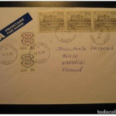 Sellos: MARJAMAA 1995 3 STAMP ON AIR MAIL COVER ESTONIA RUSSIA AREA. Lote 123826660