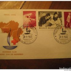 Sellos: BRUXELLES 1963 RED CROSS CROIX ROUGE ROYAL FAMILY HEALTH SANTE MEDICINE FDC COVE. Lote 123973247