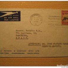 Sellos: JOHANNESBURG 1959 TO BARCELONA SPAIN SOUTH AFRICA AIR MAIL COVER BRITISH AREA CO. Lote 123974202
