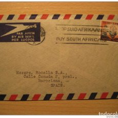 Sellos: JOHANNESBURG 195? TO BARCELONA SPAIN SOUTH AFRICA AIR MAIL COVER BRITISH AREA CO. Lote 123974206