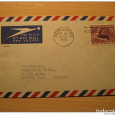 Sellos: WORCESTER 1955 TO LONDON GB UK ENGLAND SOUTH AFRICA AIR MAIL COVER BRITISH AREA. Lote 123974664