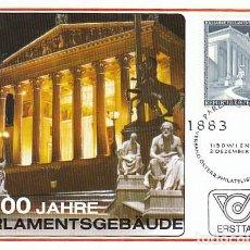 Sellos: AUSTRIA IVERT 1589, CENTENARIO DEL EDIFICIO DEL PARLAMENTO, TARJETA MÁXIMA DE 2-12-1983. Lote 128627615