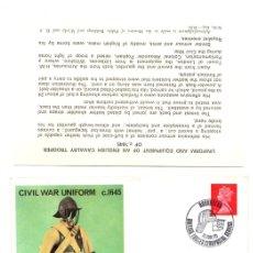 Sellos: SOBRE PRIMER DIA CIVIL WAR UNIFORM FIRST DAY COVER. 15 JUNIO 1970. RAREZA. Lote 129075239