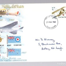 Sellos: SOBRE PRIMER DIA GOLDEN JUBILEE OF THE ROYAL AIR FORCE. 29 MAYO 1968. Lote 129075983