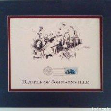 Sellos: SELLO CONMEMORATIVO BATTLE OF JOHNSON VILLE CON MATASELLOS DE PRIMER DIA.. Lote 130796364