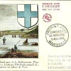 Sellos: SOBRE DE PRIMER DÍA - PREMIER JOUR D'EMISSION - MARSEILLE - 1958. Lote 132823502