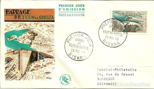 SOBRE PRIMER DÍA - PREMIER JOUR D'EMISSION - BARRAGE DE FOUM EL GHERZA - 1959 (Sellos - Historia Postal - Sellos otros paises)