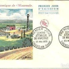 Sellos: SOBRE PRIMER DÍA - PREMIER JOUR D'EMISSION - CENTRE ATOMIQUE DE MARCOULE - 1959. Lote 133044478