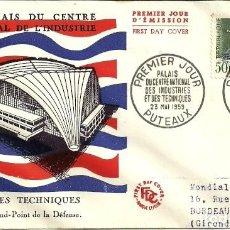 Sellos: SOBRE PRIMER DÍA - PREMIER JOUR D'EMISSION - LE PALAIS DU CENTRE NATIONAL DE L'INDUSTRIE - 1959. Lote 133044890