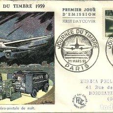 Sellos: SOBRE PRIMER DÍA - PREMIER JOUR D'EMISSION - JOURNÉE DU TIMBRE - 1959. Lote 133045014