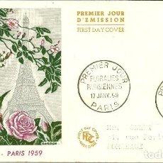 Sellos: SOBRE PRIMER DÍA - PREMIER JOUR D'EMISSION - FLORALIES PARISIENNES - 1959. Lote 133045398