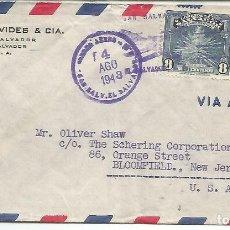 Sellos: EL SALVADOR CC 1948 CON CENSURA USA SELLOS FLOR DE IZOTE Y CAFE . Lote 133722546