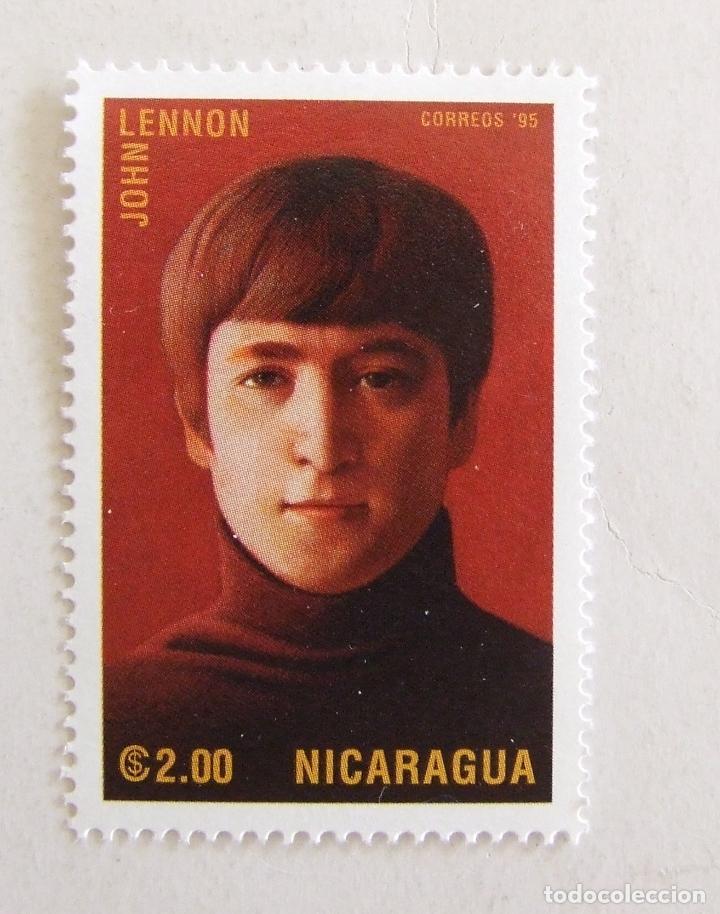SELLO JOHN LENNON DE NICARAGUA BEATLES 2.00 (Sellos - Historia Postal - Sellos otros paises)