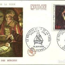 Sellos: SELLO DE PRIMER DÍA - PREMIER JOUR D'EMISSION - LE NOUVEAU NE G. DE LA TOUR - 1966. Lote 135365162