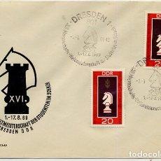 Sellos: AJEDREZ CHESS - ALEMANIA DDR 1969 - 16 CAMPEONATO MUNDO ESTUDIANTES POR EQUIPOS EN DRESDEN. Lote 136749262