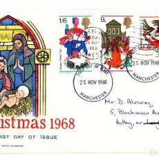 Sellos: CHRISTMAS 1968 FIRST DAY OF ISSUE. 25 NOV 1968. SOBRE PRIMER DIA CHRISTMAS. MANCHESTER. Lote 137382780
