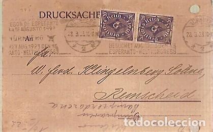 TARJETA MAT ESPERANTO 1923 (Sellos - Historia Postal - Sellos otros paises)