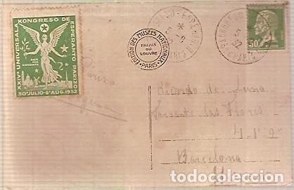 TARJETA MAT SELLOS 24 CONGRESO ESPERANTO PARIS 1932 (Sellos - Historia Postal - Sellos otros paises)