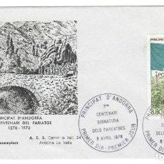 Sellos: SOBRE (ANDORRA 1978): PAREATGES - 7º CENTENARIO DE LA FIRMA DE LOS PARIAJES - PRIMER DÍA (350 TIRADA. Lote 143185530