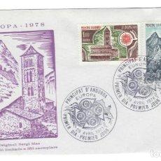 Sellos: SOBRE FDC (ANDORRA 1978): 350 EJEMPLARES - EUROPA 1978 - SELLOS: IGLESIA DE PAL, CASA DE CARLEMANY. Lote 143381570