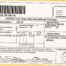 Sellos: ESTADOS UNIDOS USA PITNEY BOWES LABEL CN22 FIRST CLASS PACKAGE. Lote 143590078
