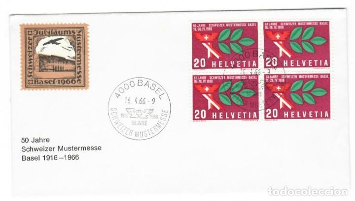 SOBRE (SUIZA 1966) ANIVERSARIOS: 50 JAHRE SCHWEIZER MUSTERMESSE BASEL 1916-1966 (Sellos - Historia Postal - Sellos otros paises)
