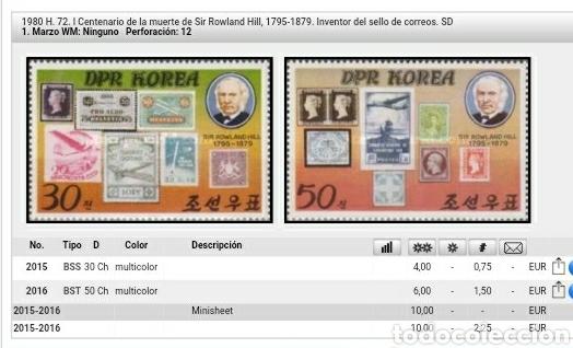 Sellos: HB Corea Norte mtda (DPKR)/1980/I Cent. muerte Sir. Rowland Hill/sello sb sello/aviones/trenes/espa - Foto 3 - 151624116