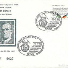 Sellos: SOBRE CON SELLO ALEMÁN Y MATASELLO CONMEMORATIVO DEL PREMIO CARLOMAGNO AL REY JUAN CARLOS I. Lote 156616658