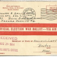 Sellos: ESTADOS UNIDOS USA 1944 WASHINGTON OFFICIAL ELECTION WAR BALLOT . Lote 156707710
