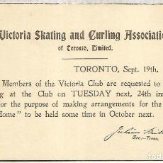 Sellos: CANADA VICTORIA ENTERO POSTAL 1901 SKATING AND CURLING ASSOCIATION. Lote 156710346