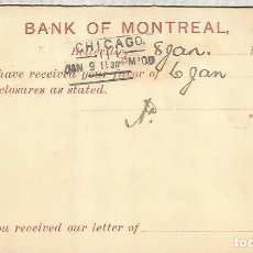 Sellos: CANADA ENTERO POSTAL 1900 BELLEVILLE BANK OF MONTREAL. Lote 156710574