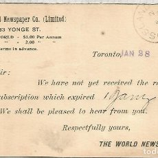 Sellos: CANADA ENTERO POSTAL 1898 TORONTO THE WORLD NEWSPAPER CO. Lote 156710722