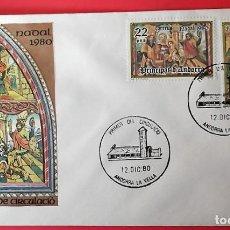 Sellos: ANDORRA E. SPD 138/39 NAVIDAD. RETABLO DE LA IGLESIA DE SANT ROMAN DES VILARS. 1980. MATASELLO PRIME. Lote 156792712