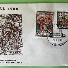 Sellos: ANDORRA E. SPD 138/39 NAVIDAD. RETABLO DE LA IGLESIA DE SANT ROMAN DES VILARS. 1980. MATASELLO PRIME. Lote 156792852