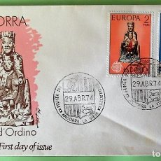 Sellos: ANDORRA E. SPD 89/90 EUROPA-CEPT: VIRGEN DE ORDINO Y CRUZ DE LOS SIETE BRAZOS. 1974. MATASELLO: 29.A. Lote 156792860