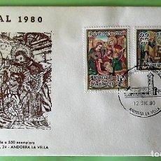 Sellos: ANDORRA E. SPD 138/39 NAVIDAD. RETABLO DE LA IGLESIA DE SANT ROMAN DES VILARS. 1980. MATASELLO PRIME. Lote 156792868