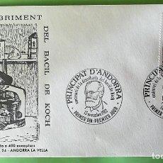 Sellos: ANDORRA FSA. SPD 308 CENTENARIO DESCUBRIMIENTO DEL BACILO DE LA TUBERCULOSIS POR ROBERT KOCH. 1982.. Lote 156792920